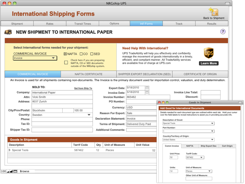 UPS International Shipping
